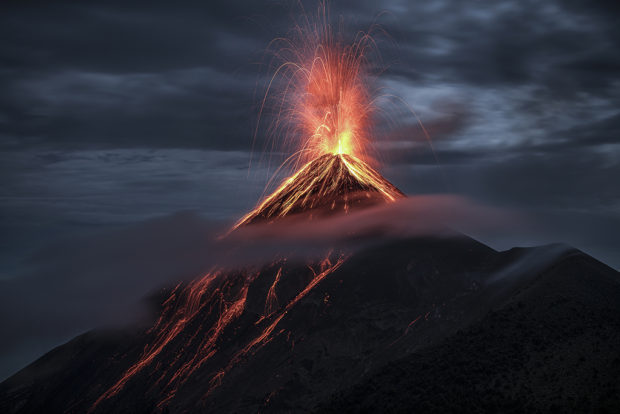"Showcase 2019 Top 100 winner: ""Eruption at Fuego Volcano,"" Volcán de Fuego, Guatemala © Hector Astorga."
