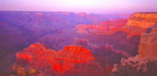 My favorite spot along the South Rim in Grand Canyon National Park, Powell Point shows its very best colors just before sunset.