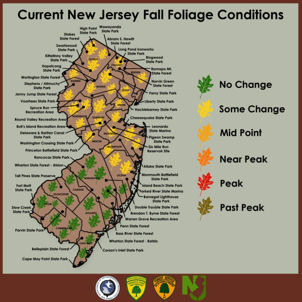New Jersey State Parks, Forests & Historic Sites Facebook page tracks fall foliage.