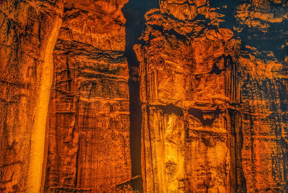 The Temple of Karnak is one of the more angular of the many limestone formations deep inside Mammoth Cave, Mammoth Cave National Park, KY.