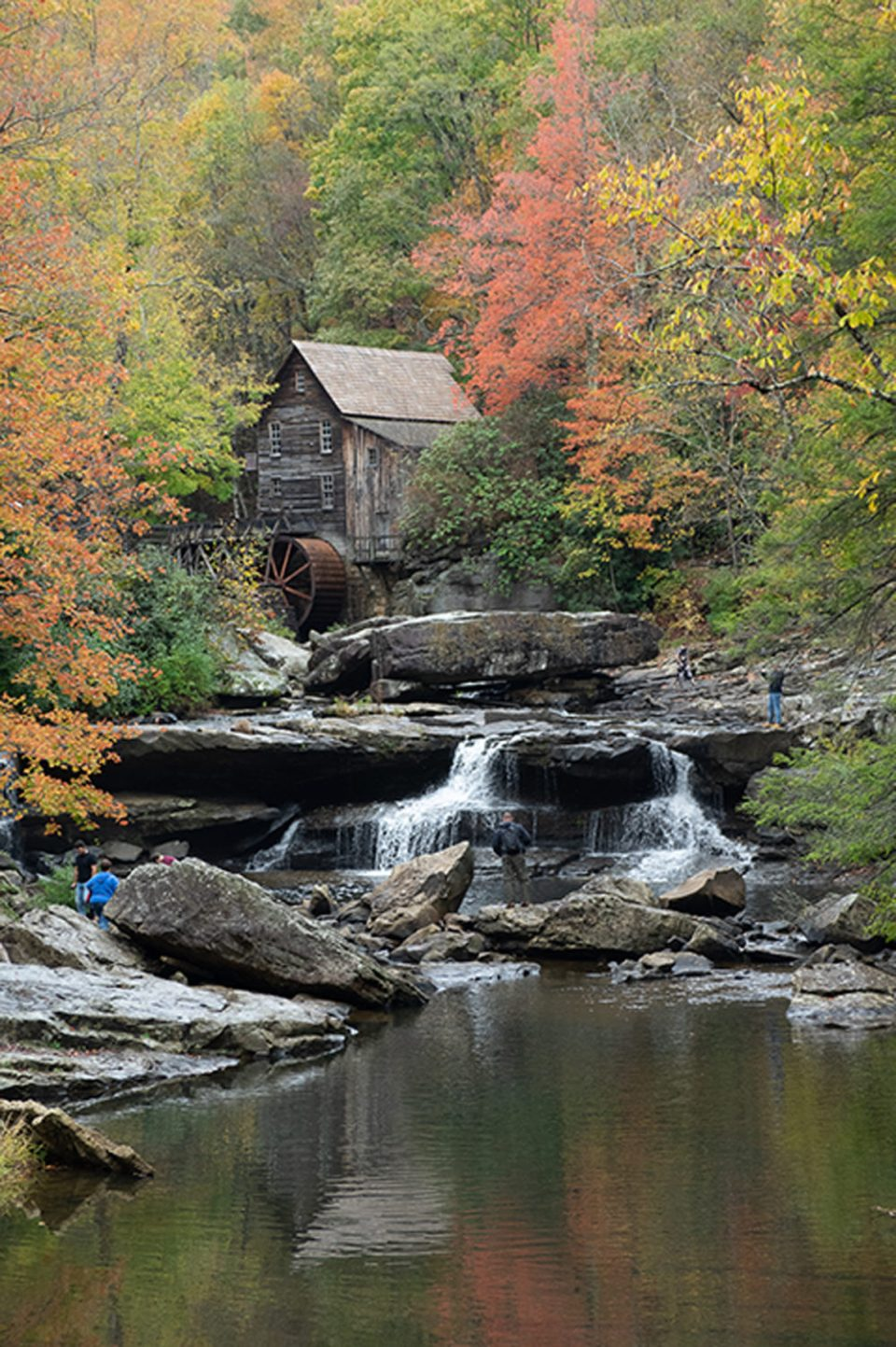 Spectacular autumn color surrounds the historic Glade Creek grist mill in Babcock State Park near Fayetteville, WV.