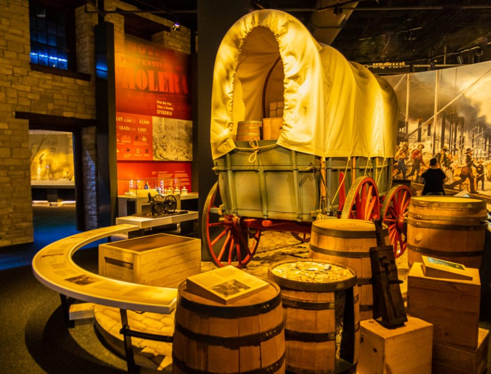 An excellent museum directly beneath the Gateway Arch exhibits the history of St. Louis and westward expansion in Gateway Arch National Park, St. Louis, MO.