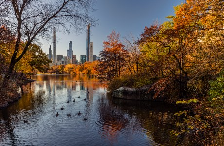 Overall, wide-angle view of The Lake in Central Park at 24mm.