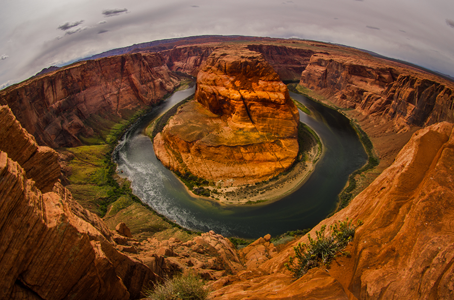 Horseshoe Bend of the Colorado – When I first explored this spot just outside Page, AZ. a few decades ago, it was virtually unknown and largely deserted. It is now overrun with tourists and Instagram. APS-C sensor, 10mm fisheye.