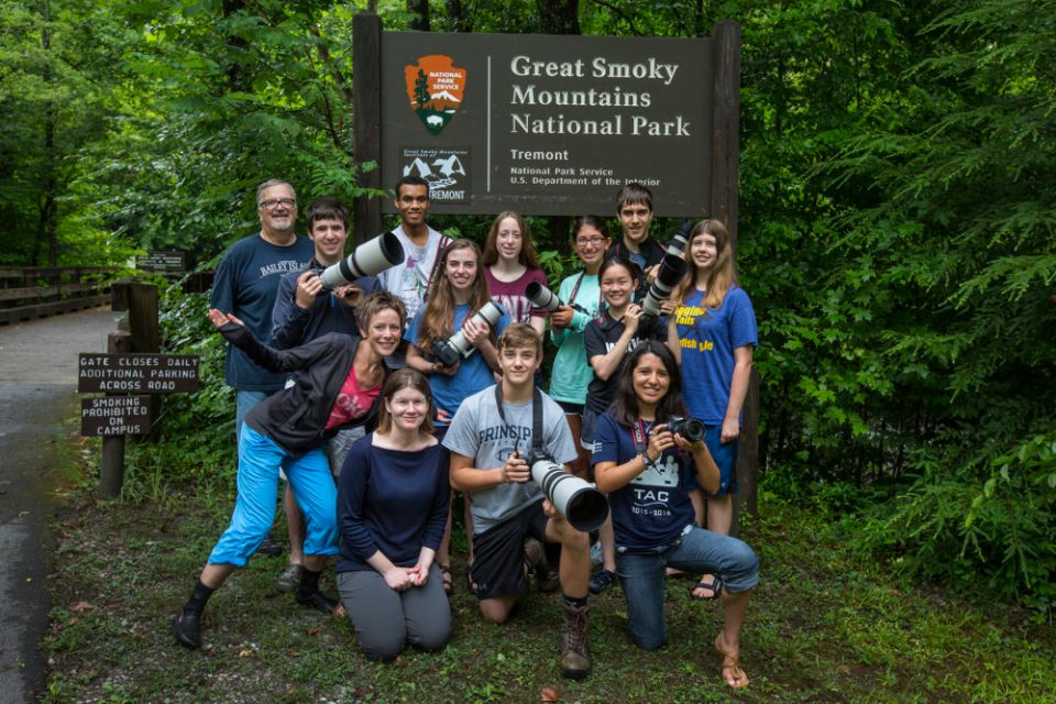 Don Carter (back row, far left) with 2016 NANPA High School Scholarship Students at the Tremont Institute in Great Smoky Mountains National Park. Photo credit: Karine Aigner.