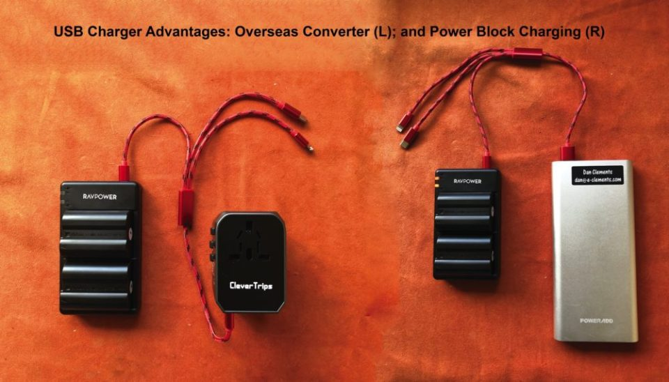 Photo of RAVPower charger plugged into international power converter (left) and power bank (right).