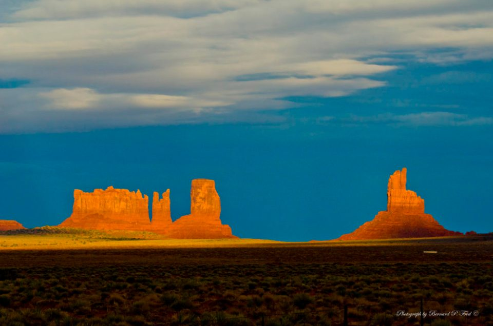 From southern Utah into Monument Valley, showing Stagecoach Butte and Bear and Rabbit and Castle Rock. © Bernard P. Friel