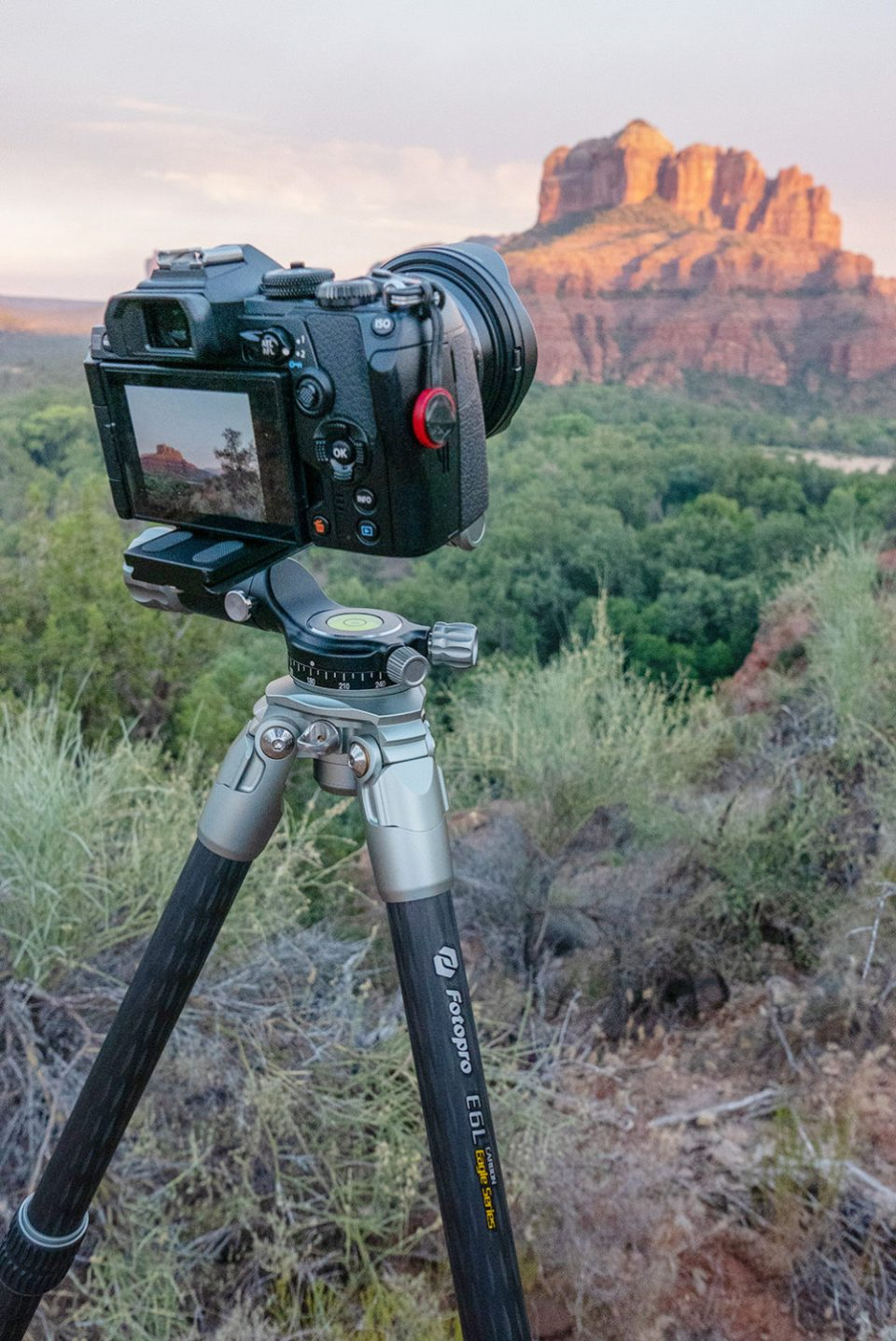 FotoPro tripod shown on location in the red rocks. The quick-level ball head makes getting the horizon straight a snap on un-level ground. © Bob Coates
