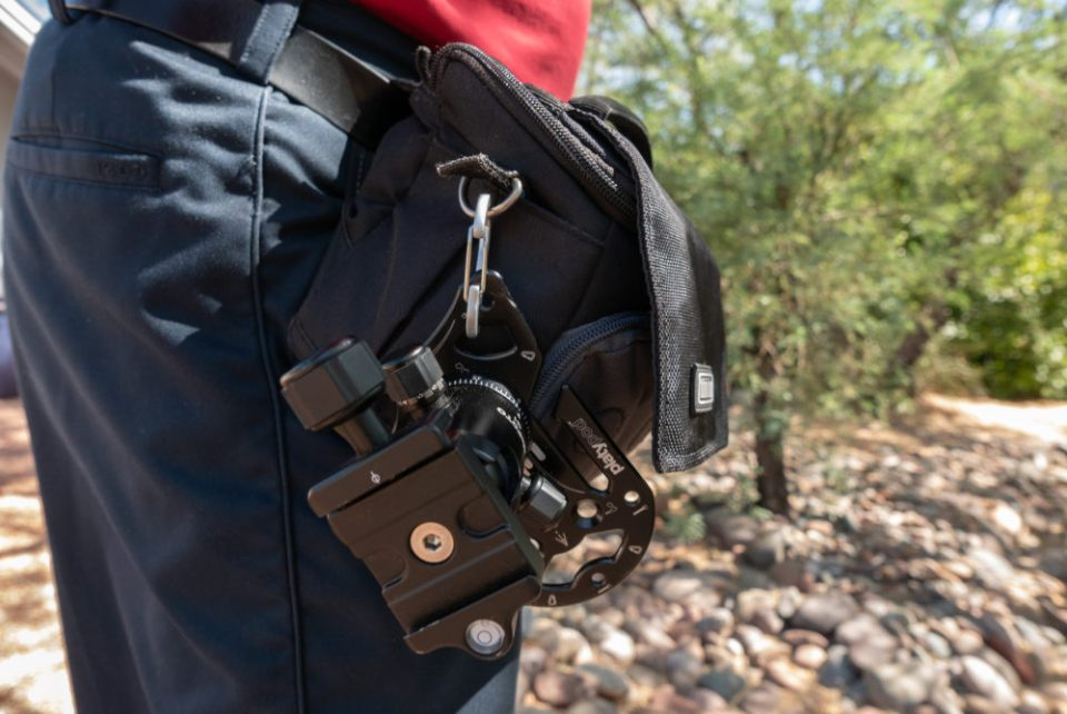 Here's how a carry my Platypod when hiking, using a carabineer clip. © Bob Coates