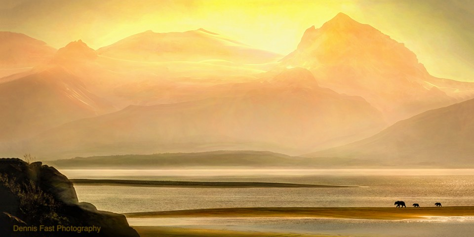 Photo of a dramatic sunset at Katmai National Park by Dennis Fast.