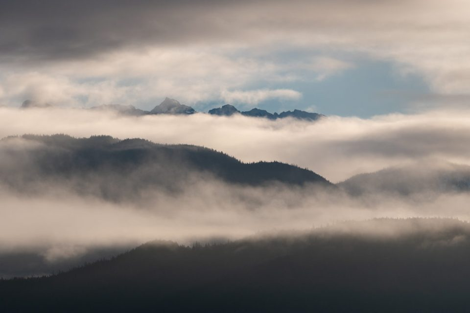 A Blanket of Clouds Opening Up in the Forest and Mountains of the Inside Passage . © Debbie McCulliss
