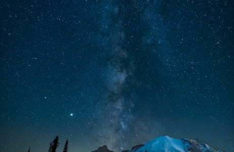 Milky Way over Mt. Rainier Just before Sunrise from the August Outing © Dan Clements