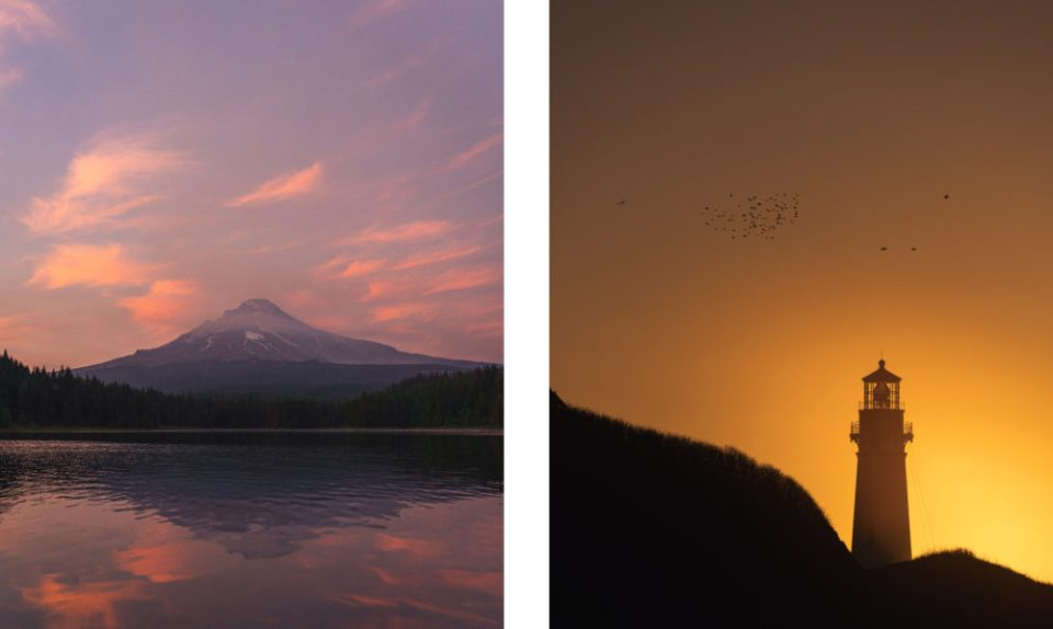 A view of Mt. Hood from Trillium Lake (left). Sunset at Yaquina Head Lighthouse (right). © Ryan Reynolds