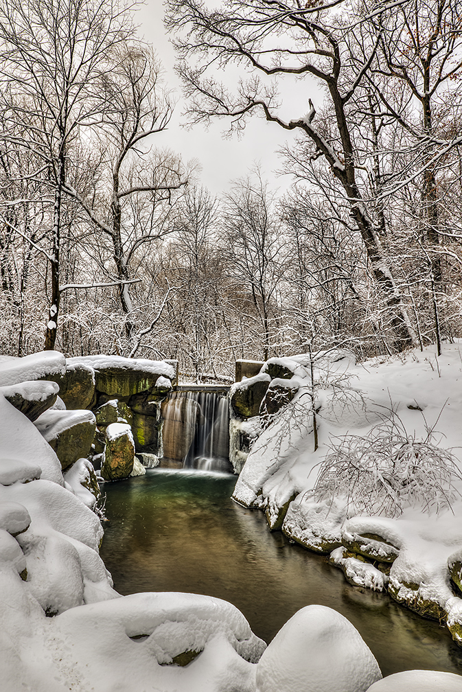 Original Image of Snow-Covered Waterfall is Lacking in Color.