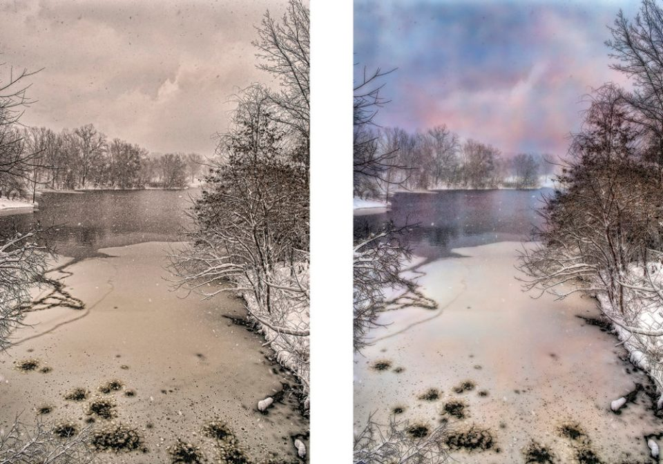 Texture Applied to Varying Degrees to Specific Areas of Photo of Stream in WInter © F.M. Kearney