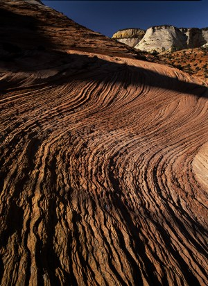 Windswept striated sandstone in Zion National Park, Utah. © Jerry Ginsberg