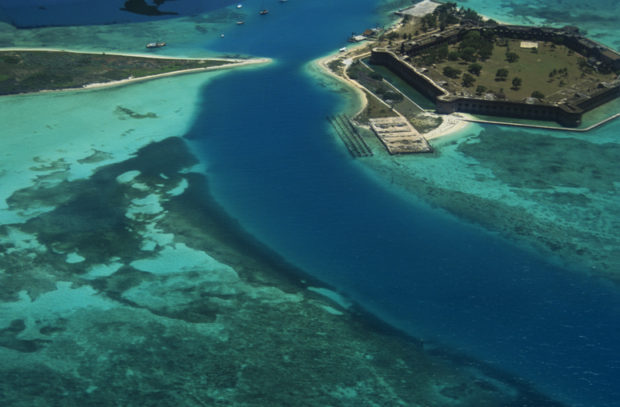Aerial view of Ft. Jefferson and Garden Key in Dry Tortugas National Park, FL..Bush Key is on the left.