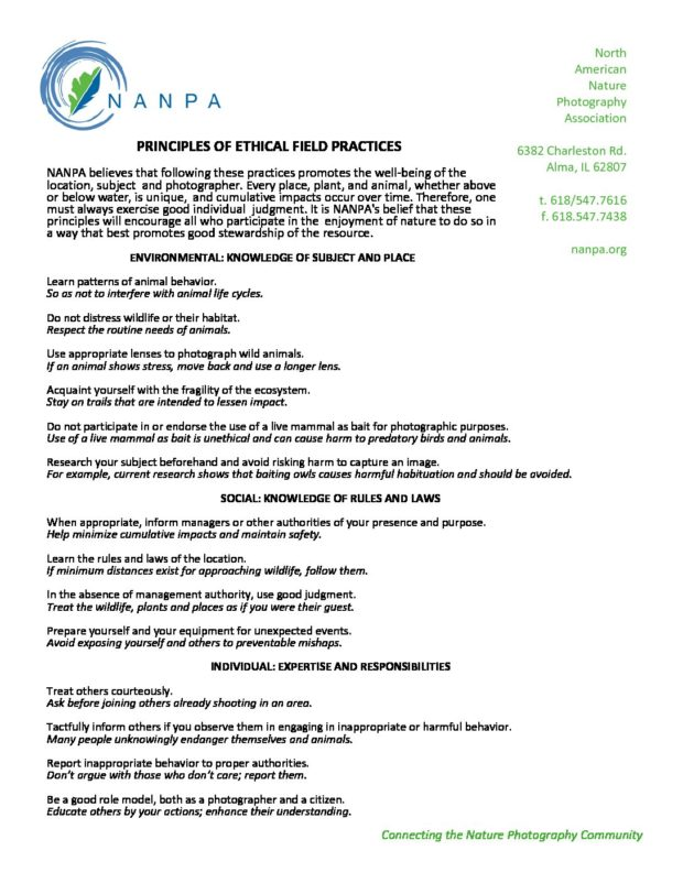 Principles of Ethical Field Practice – NANPA | North
