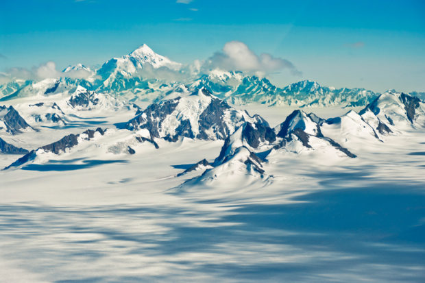 Nunataks are ice-free mountain peaks surrounded by glacial ice.
