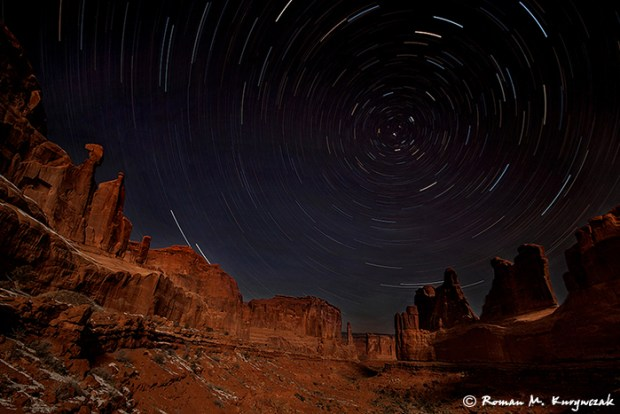 Moonlit Night at Park Avenue, Arches National Park. Sigma 12-24mm lens @ 12mm, f/4.5, ISO 100, exposed for just over an hour. Photo by Roman M. Kurywczak