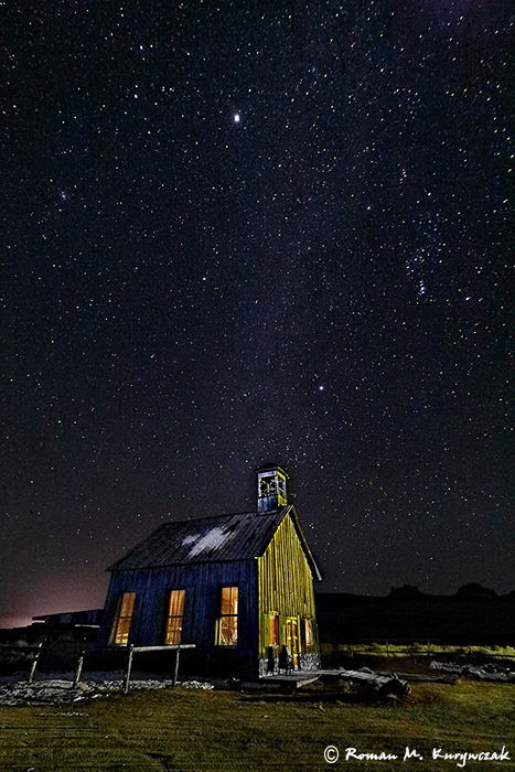 "Schoolhouse at night. Sigma 12-24mm lens @12mm, f/4.5, ISO 6400, 30"" exposure with multiple flashlights for light painting. Photo by Roman Kurywczak."