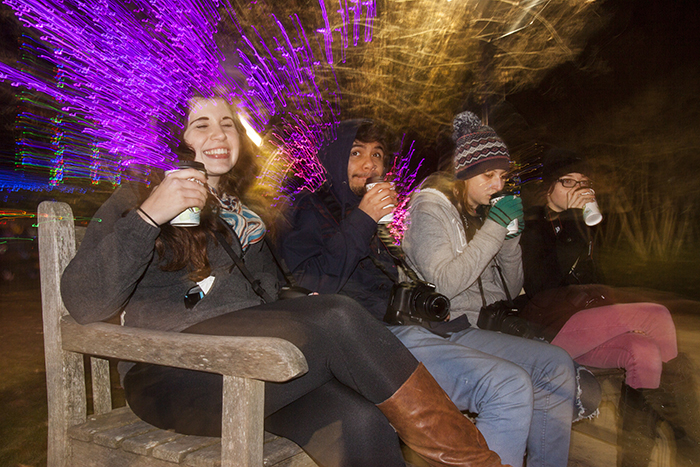 Students take a well-earned break sipping hot chocolate on that cold winter night.