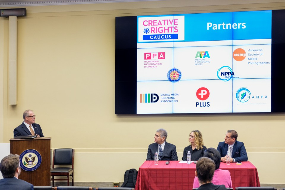 Creative Rights Caucus presentation to Congress on copyright for small creators, with slide showing NANPA logo, Washington D.C. USA.