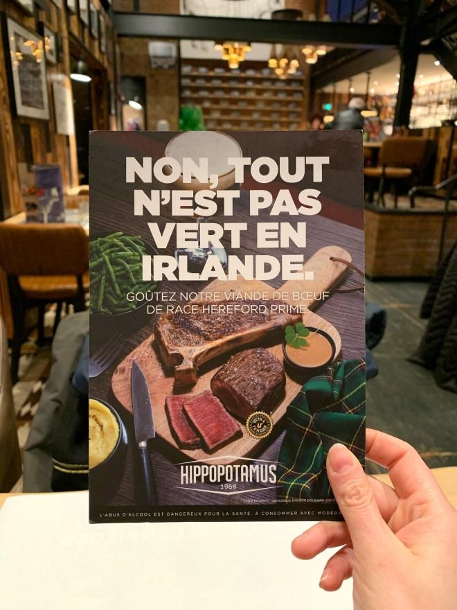 l'excellent bœuf Hereford irlandais chez Hippopotamus Nantes Atlantis