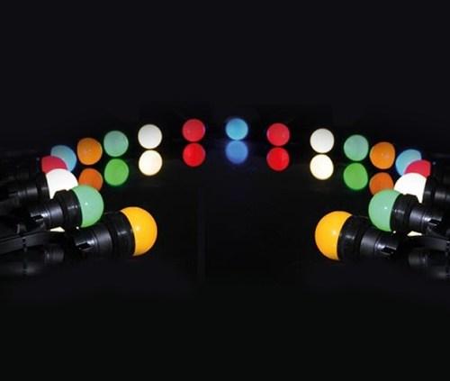 Location Guirlande Guinguette à Led 11 mètres 20 lampes Led Multicolores - Sono 85 - Sono Nantes - Location et vente de matériel de sono de lumière et de vidéo