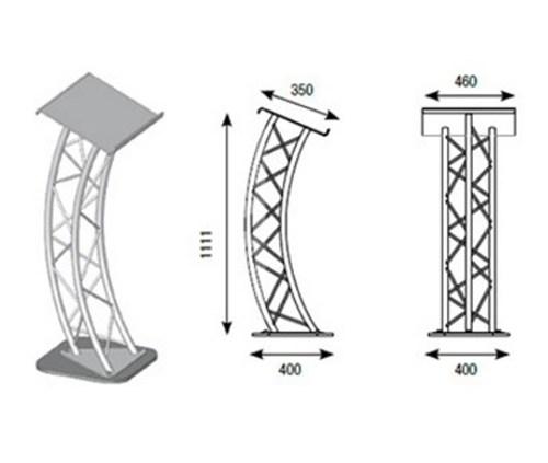 Pupitre de conférence en aluminium avec embase acier ASD - Nantes Sono - Location de matériel de sonorisation de lumière et de vidéo à Nantes (44)