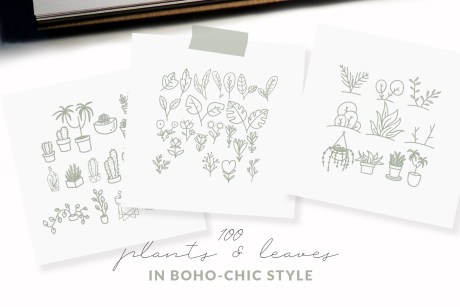 100 Boho-Chic Plants and Leaves Vectors