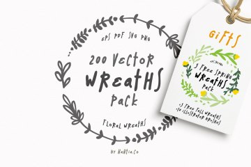200 Wreaths Vector MEGAPack