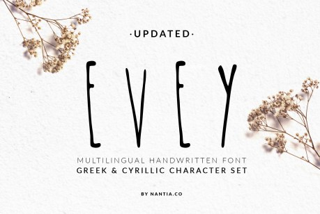 Evey Handcrafted Multilingual Font | Latin / Greek / Cyrillic