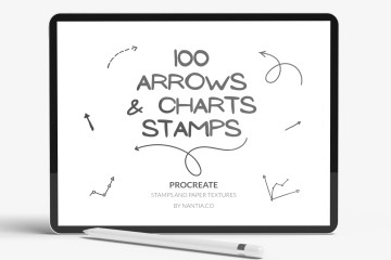 100 Arrow Procreate Stamp Brushes