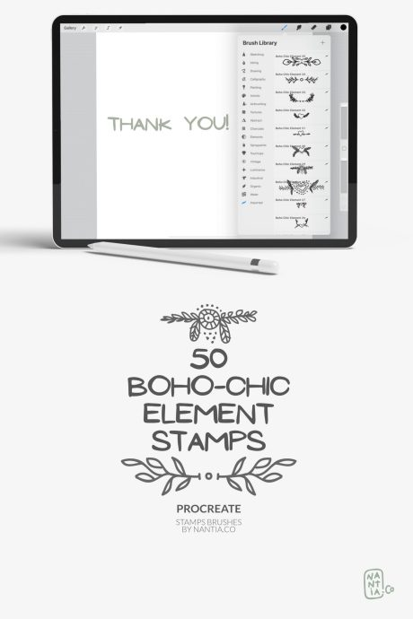 Procreate stamps Boho-Chic elements By nantiaco