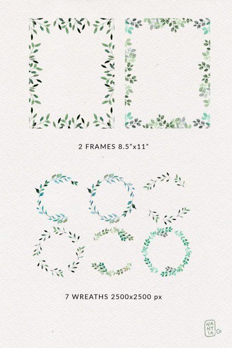 Watercolor Foliage Design Set