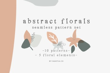 Abstract Floral Seamless Pattern Set