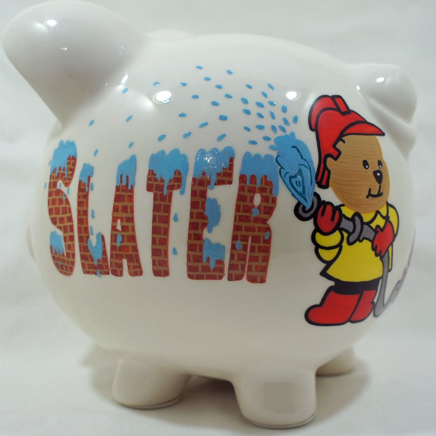 baby fireman personalize piggy bank for kids