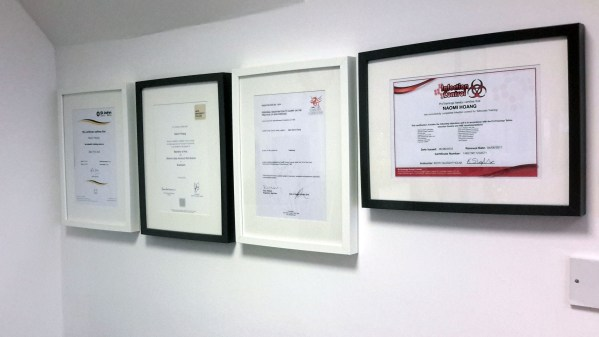 Up-to-date First Aid Training and Infection Control certificates, along with my BA(Hons) Illustration degree and Personal Tattoo Licence.