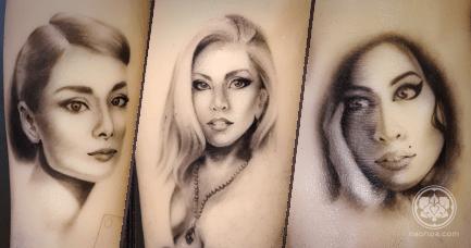 Tattoo portraits of Audrey Hepburn, Lady Gaga and Amy Winehouse.