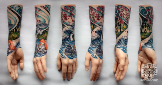 A colourful half-sleeve design by Naomi Hoang, which depicts the four seasons in the style of traditional Japanese woodblock art.