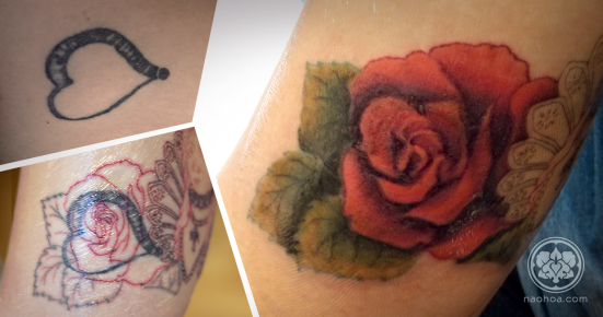 A coverup of a rose over an old heart tattoo by Naomi Hoang at NAOHOA (Cardiff).