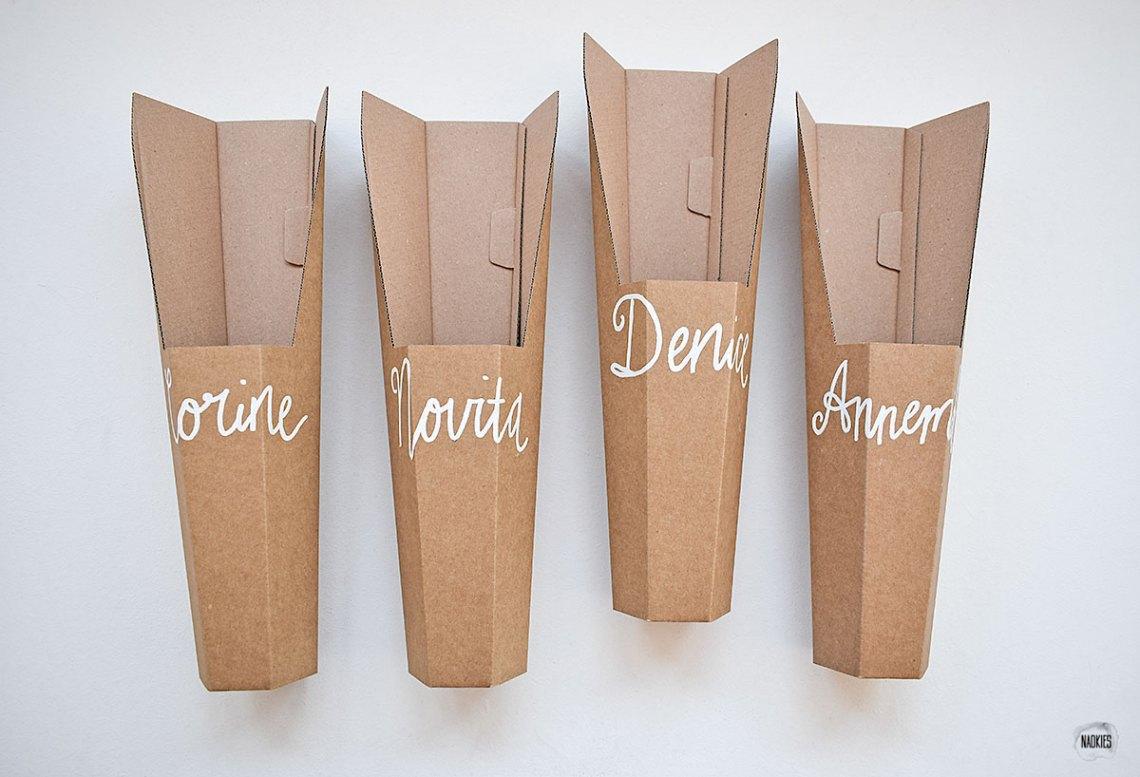Gepersonaliseerd Valentijnscadeau bloemen-verpakking Lola Dean handlettering Naokies