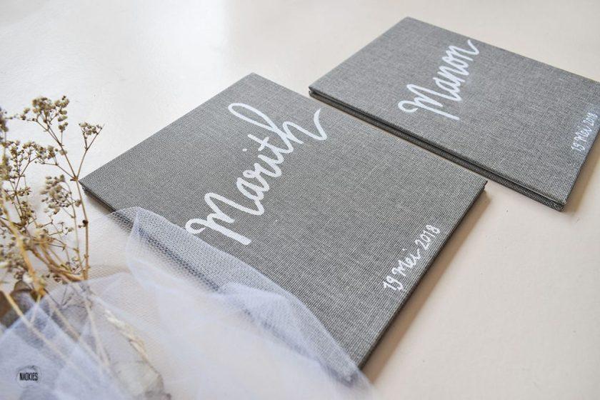 Gepersonaliseerde gelofteboekjes bruiloft handlettering Studio Naokies closeup kaft