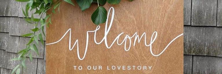 Gepersonaliseerd houten welcome bord hout botanical bruiloft studio naokies