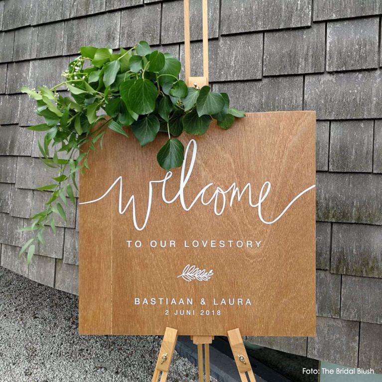 Gepersonaliseerd Welcome bord hout botanical bruiloft studio naokies