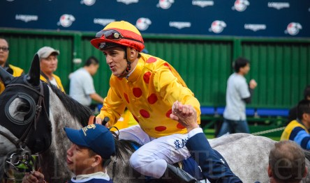 All smiles for Soumillon after a 2nd in the HK Mile