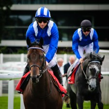 Adaay (IRE) & Paul Hanagan on their way to the start, to return as winners of the day's feature race: the Gr.2 Betfred Hungerford Stakes