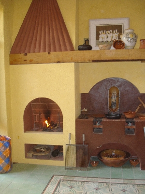 fireplace and cooking stove