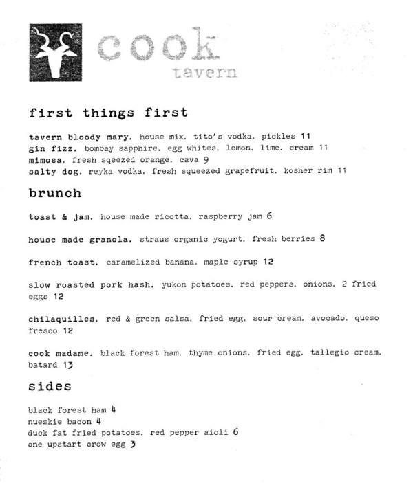 Cook Tavern bruch menu